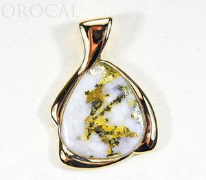 "Gold Quartz Pendant ""Orocal"" PDL105MQX Genuine Hand Crafted Jewelry - 14K Gold Yellow Gold Casting"
