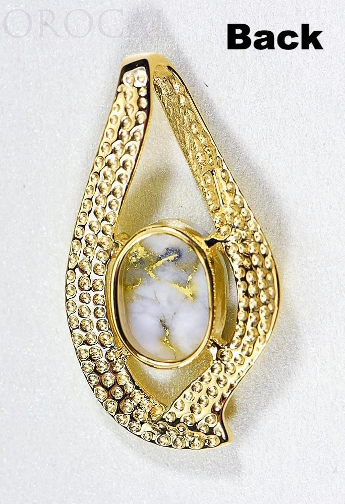 "Gold Quartz Pendant ""Orocal"" PN564QX Genuine Hand Crafted Jewelry - 14K Gold Yellow Gold Casting"