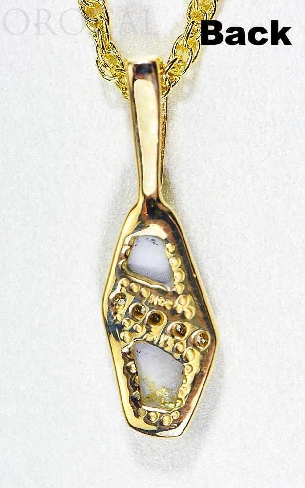 "Gold Quartz Pendant ""Orocal"" PN1064DQ Genuine Hand Crafted Jewelry - 14K Gold Yellow Gold Casting"