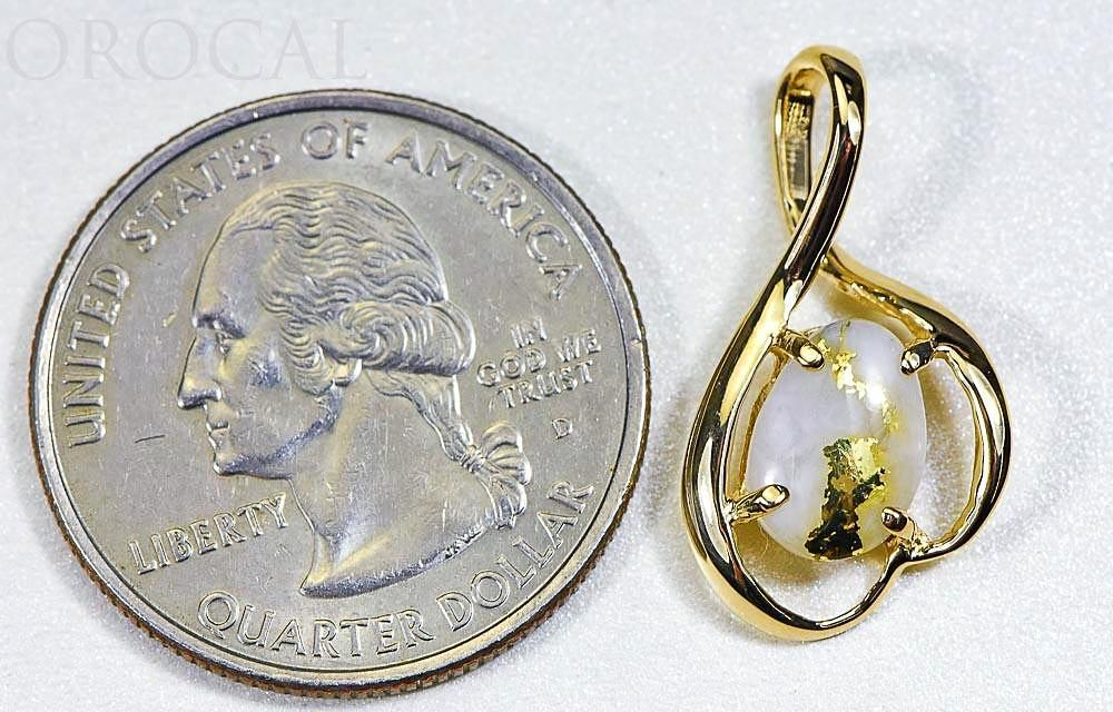 "Gold Quartz Pendant ""Orocal"" PN867QX Genuine Hand Crafted Jewelry - 14K Gold Yellow Gold Casting"