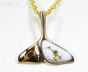 "Gold Quartz Pendant Whales Tail ""Orocal"" PDLWT30QX Genuine Hand Crafted Jewelry - 14K Gold Yellow Gold Casting"