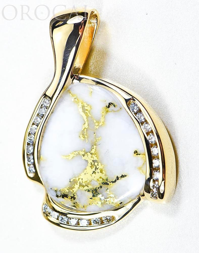 "Gold Quartz Pendant ""Orocal"" PDL105D50QX Genuine Hand Crafted Jewelry - 14K Gold Yellow Gold Casting"