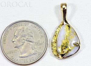 "Gold Quartz Pendant ""Orocal"" PSC105QX Genuine Hand Crafted Jewelry - 14K Gold Yellow Gold Casting"