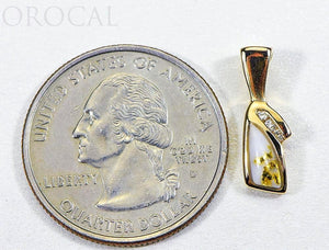 "Gold Quartz Pendant ""Orocal"" PN1072DQ Genuine Hand Crafted Jewelry - 14K Gold Yellow Gold Casting"