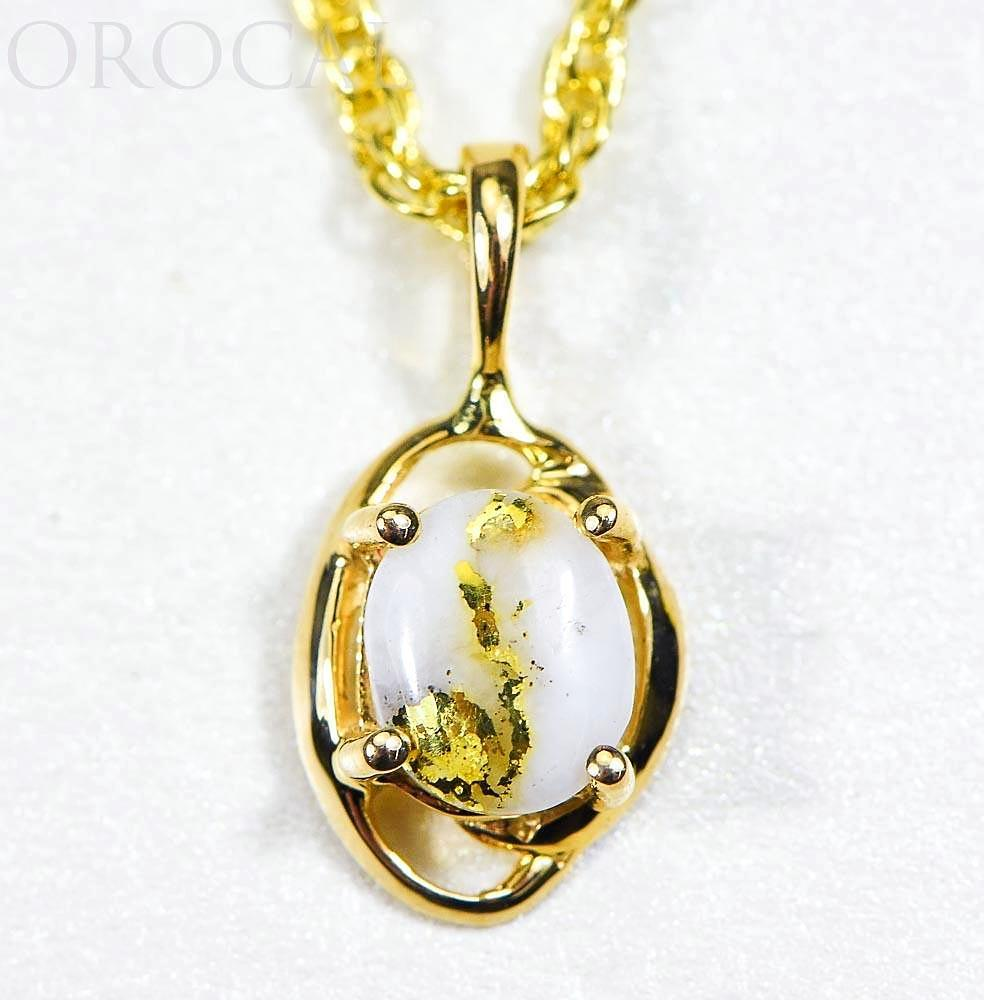 "Gold Quartz Pendant ""Orocal"" PN805XSQX Genuine Hand Crafted Jewelry - 14K Gold Yellow Gold Casting"