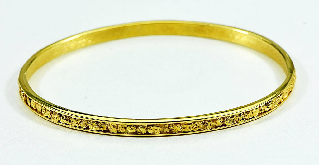 Gold Nugget Bracelet Bangle Style Bbs4Mm Orocal Hand Made - Alaskan Yukon Bc 21.64 Grams Jewelry