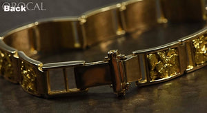 Gold Nugget Inlay Bracelet Orocal B10Mm11L Genuine Hand Crafted Jewelry - 14K Casting