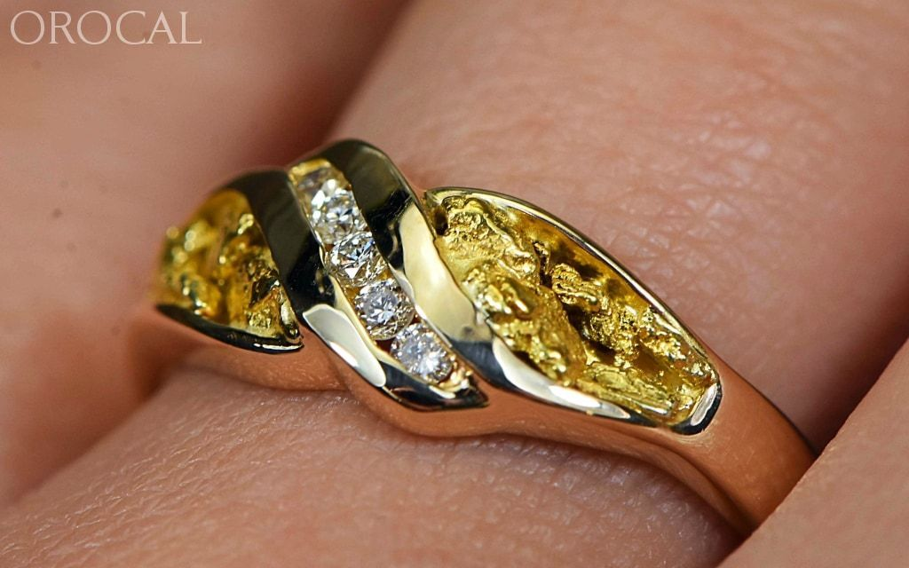 Gold Nugget Ladies Ring Orocal Rl612D10 Genuine Hand Crafted Jewelry - 14K Casting