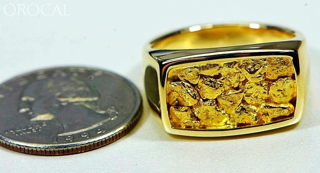 Gold Nugget Mens Ring Orocal Rm1109N Genuine Hand Crafted Jewelry - 14K Casting