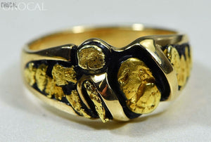Gold Nugget Mens Ring Orocal Rm486 Genuine Hand Crafted Jewelry - 14K Casting