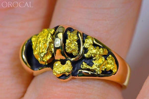 Gold Nugget Mens Ring Orocal Rm490 Genuine Hand Crafted Jewelry - 14K Casting