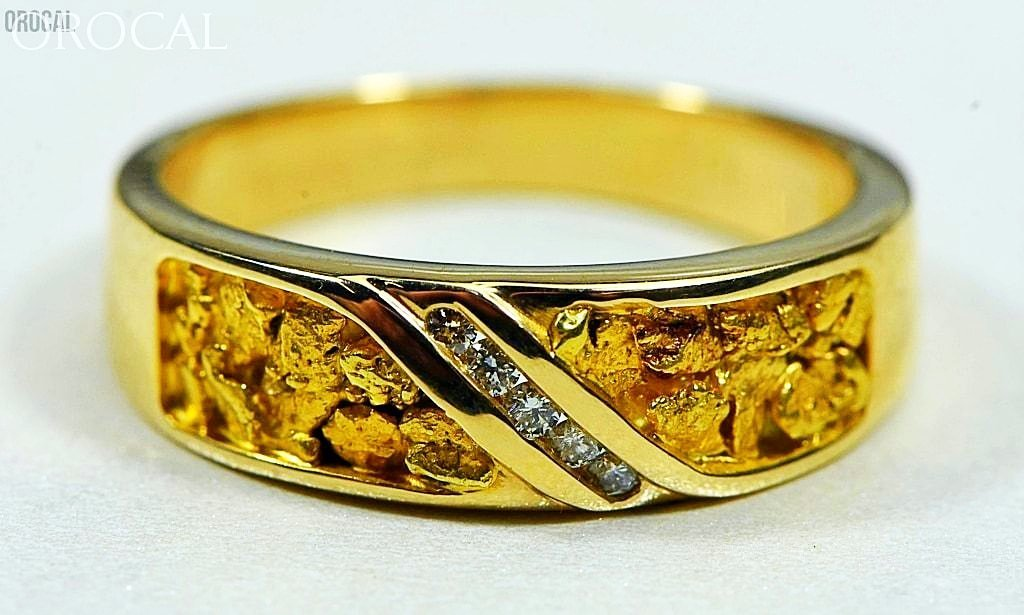 Gold Nugget Mens Ring Orocal Rm610D10 Genuine Hand Crafted Jewelry - 14K Casting