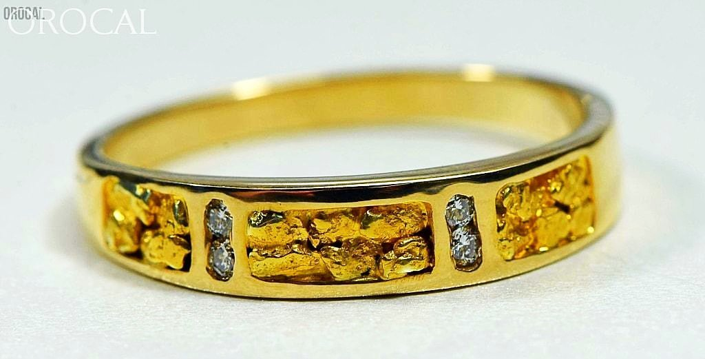 Gold Nugget Mens Ring Orocal Rm733D8N Genuine Hand Crafted Jewelry - 14K Casting