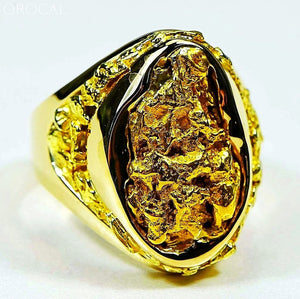 Gold Nugget Mens Ring Orocal Rmen116 Genuine Hand Crafted Jewelry - 14K Casting