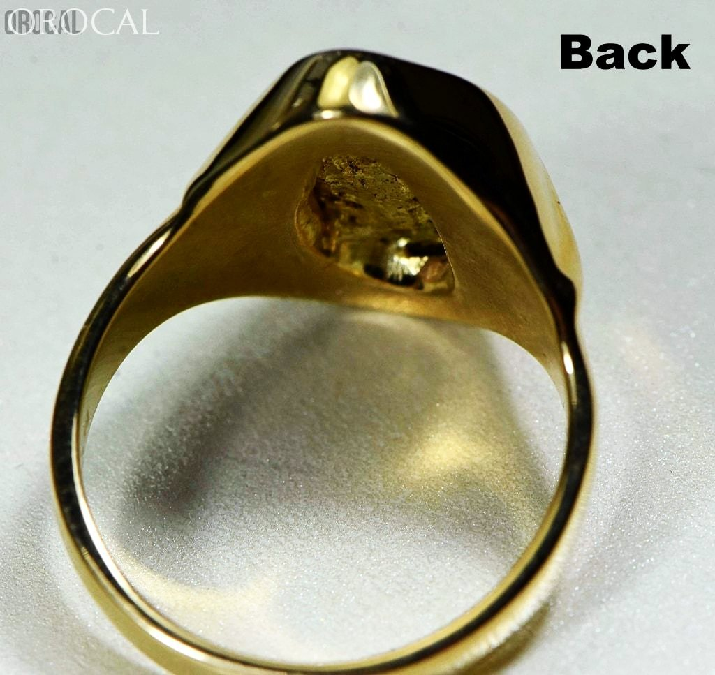 Gold Nugget Mens Ring Orocal Rmen122 Genuine Hand Crafted Jewelry - 14K Casting