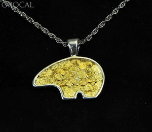 Gold Nugget Pendant Bear - Sterling Silver Pbr1Jnssx Hand Made Orocal Jewelry