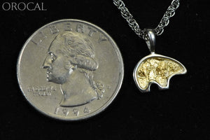 Gold Nugget Pendant Bear - Sterling Silver Pbr1Solss- Hand Made Orocal Jewelry