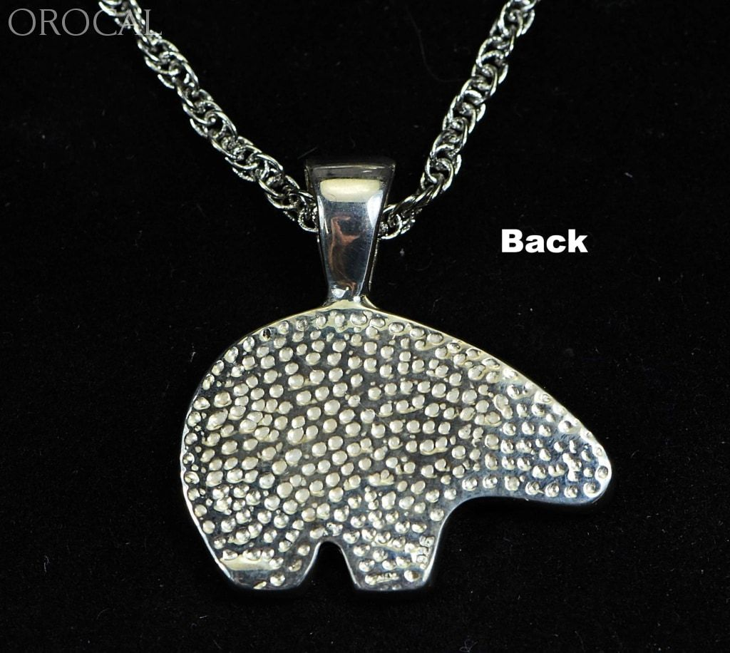 Gold Nugget Pendant Bear - Sterling Silver Pbr1Xlnss- Hand Made Orocal Jewelry