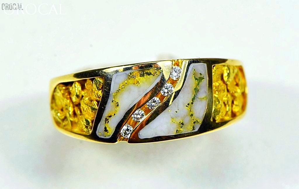 Gold Nugget/quartz Mens Ring Orocal Rm731D14Nq Genuine Hand Crafted Jewelry - 14K Casting Nugget