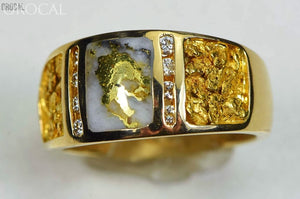 Gold Nugget/quartz Mens Ring Orocal Rm732Ldnq Genuine Hand Crafted Jewelry - 14K Casting Nugget