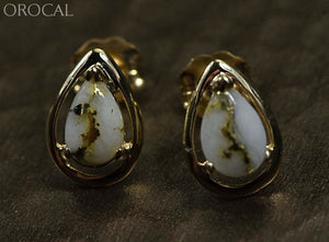 Gold Quartz Earrings Orocal En442Q Genuine Hand Crafted Jewelry - 14K Casting