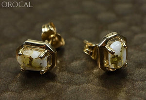 Gold Quartz Earrings Orocal En452Q Genuine Hand Crafted Jewelry - 14K Yellow Casting