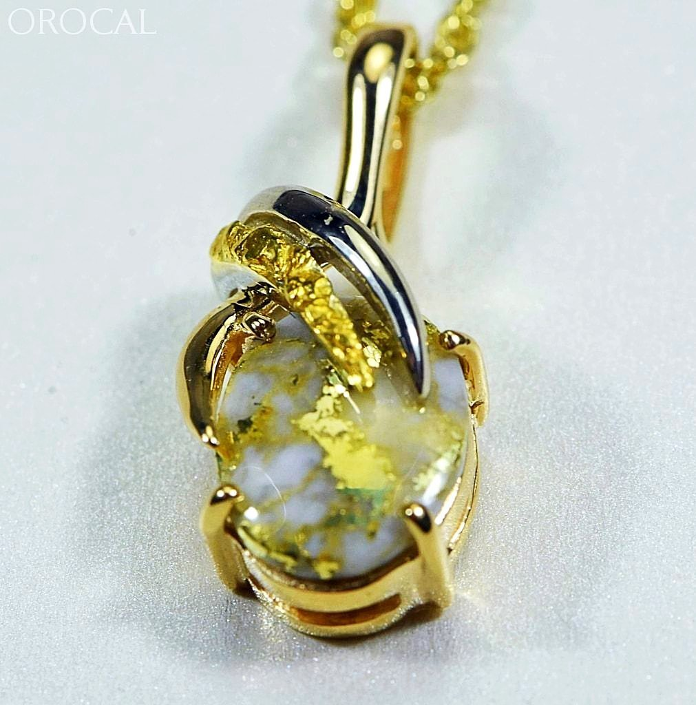 Gold Quartz Pendant & Nugget Orocal Pn819Nqx Genuine Hand Crafted Jewelry - 14K Yellow Casting