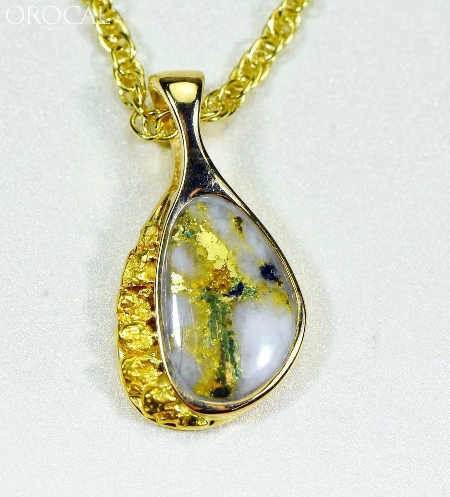 Gold Quartz Pendant & Nugget Orocalpsc126Qx Genuine Hand Crafted Jewelry - 14K Yellow Casting