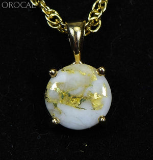 Gold Quartz Pendant Orocal P10Mmqx Genuine Hand Crafted Jewelry - 14K Yellow Casting