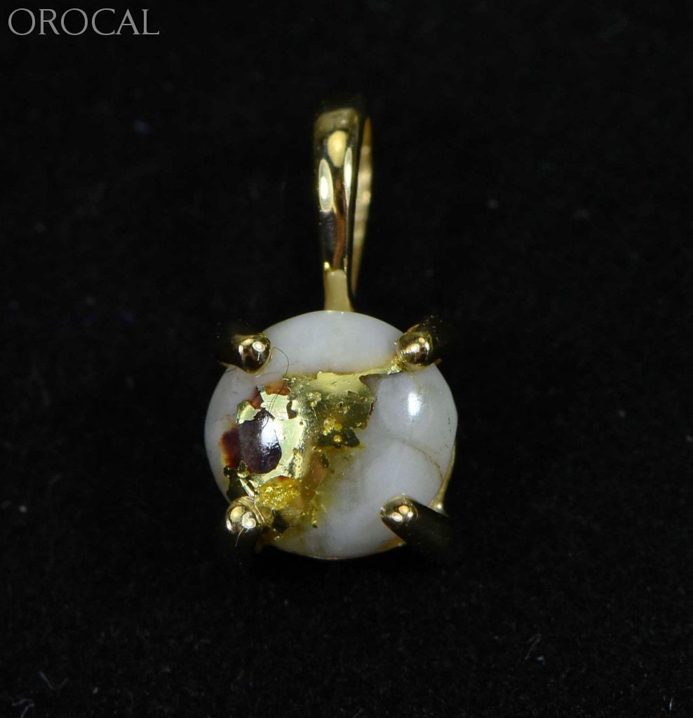 Gold Quartz Pendant Orocal P6Mmqx Genuine Hand Crafted Jewelry - 14K Yellow Casting
