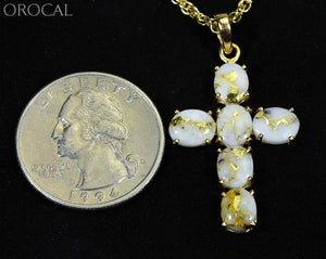 Gold Quartz Pendant Orocal Pcr1162Q Genuine Hand Crafted Jewelry - 14K Yellow Casting