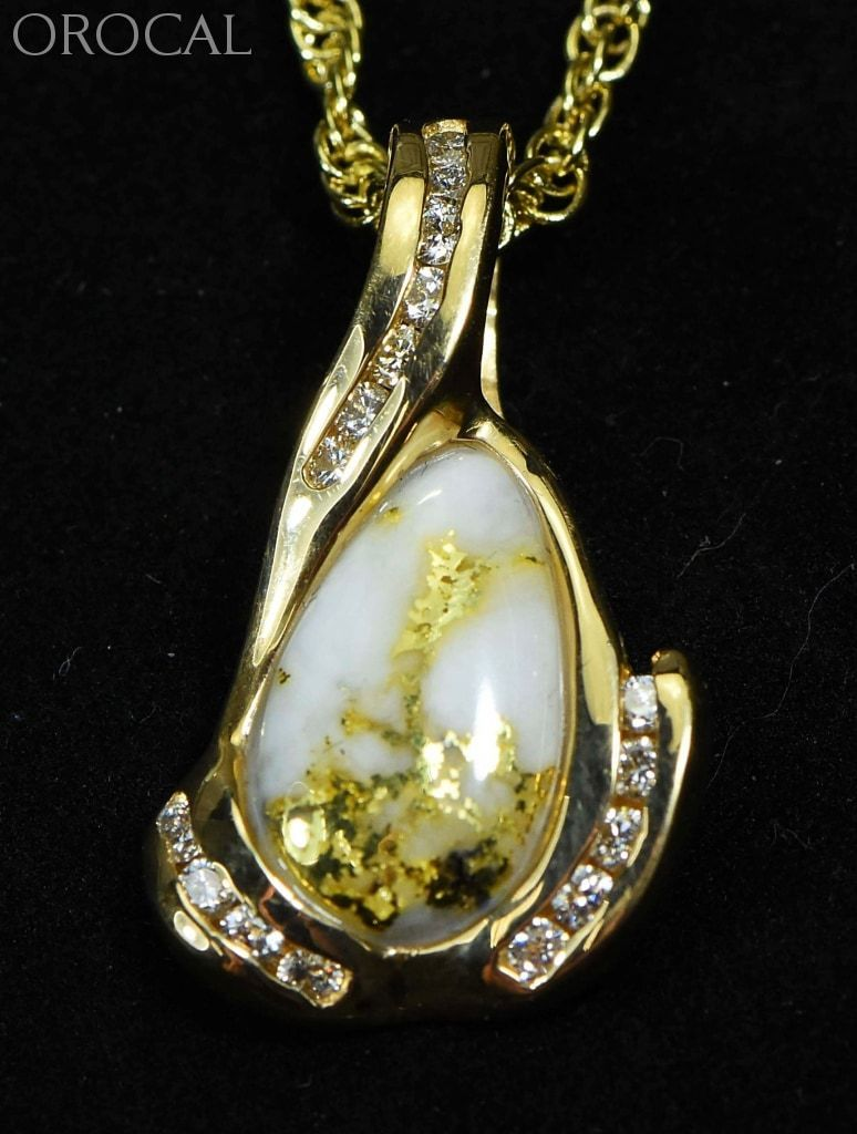 Gold Quartz Pendant Orocal Pdl106Sd14Qx Genuine Hand Crafted Jewelry - 14K Yellow Casting