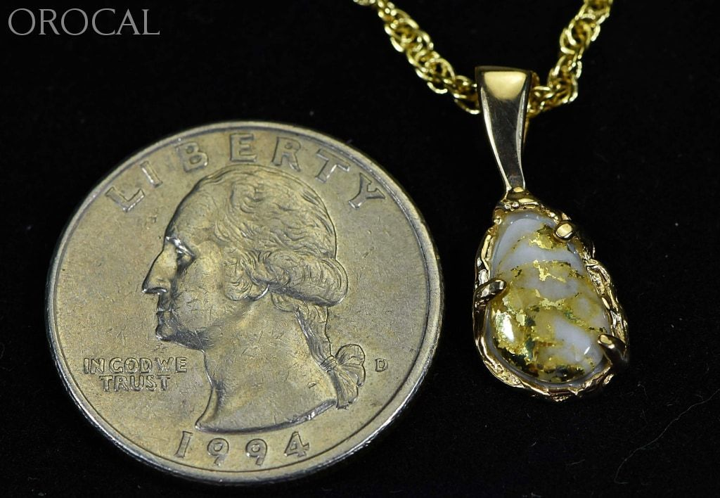 Gold Quartz Pendant Orocal Pffq4 Genuine Hand Crafted Jewelry - 14K Yellow Casting