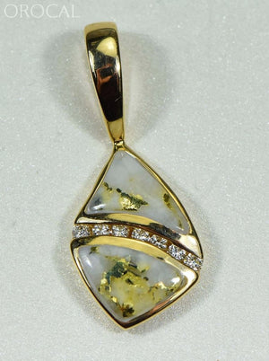 Gold Quartz Pendant Orocal Pn1071Dq Genuine Hand Crafted Jewelry - 14K Yellow Casting