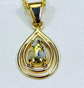 Gold Quartz Pendant Orocal Pn1076Xsq Genuine Hand Crafted Jewelry - 14K Yellow Casting