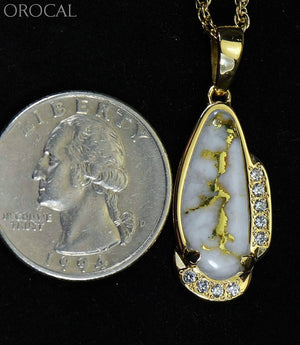 Gold Quartz Pendant Orocal Pn1106Sdq Genuine Hand Crafted Jewelry - 14K Yellow Casting