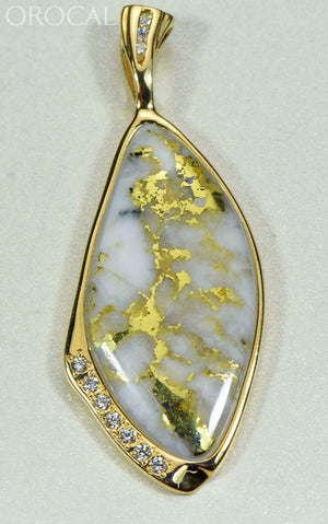 Gold Quartz Pendant Orocal Pn1111Dq Genuine Hand Crafted Jewelry - 14K Yellow Casting