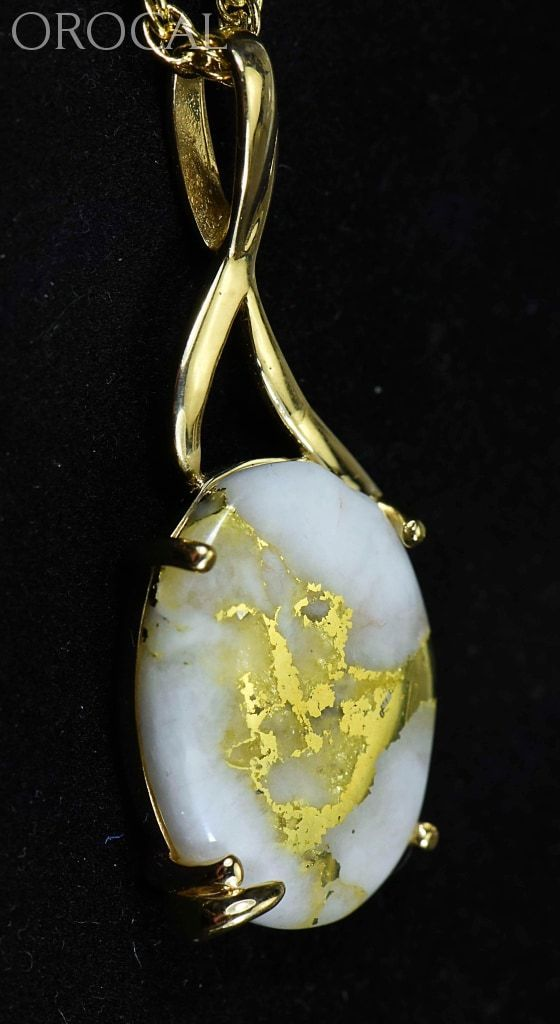 Gold Quartz Pendant Orocal Pn1122Q Genuine Hand Crafted Jewelry - 14K Yellow Casting