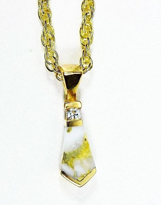 Gold Quartz Pendant Orocal Pn641D4Qx Genuine Hand Crafted Jewelry - 14K Yellow Casting