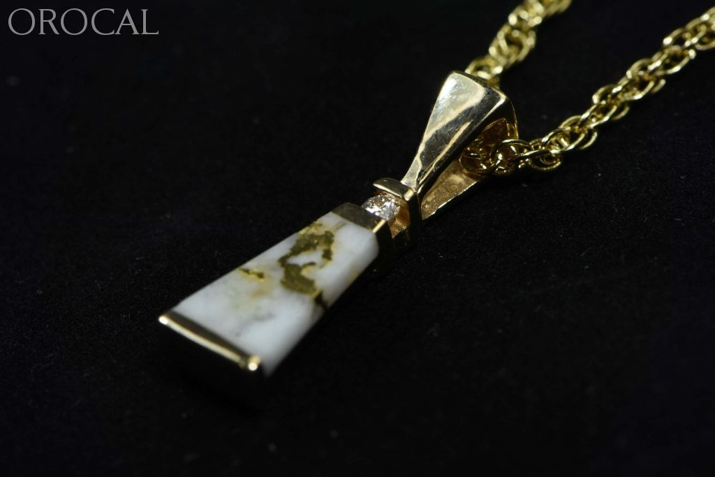 Gold Quartz Pendant Orocal Pn642D4Qx Genuine Hand Crafted Jewelry - 14K Yellow Casting
