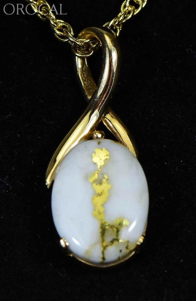 Gold Quartz Pendant Orocal Pn794Qx Genuine Hand Crafted Jewelry - 14K Yellow Casting