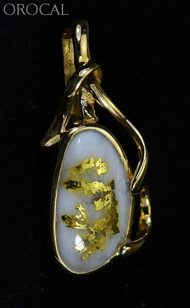 Gold Quartz Pendant Orocal Pn866Qx Genuine Hand Crafted Jewelry - 14K Yellow Casting