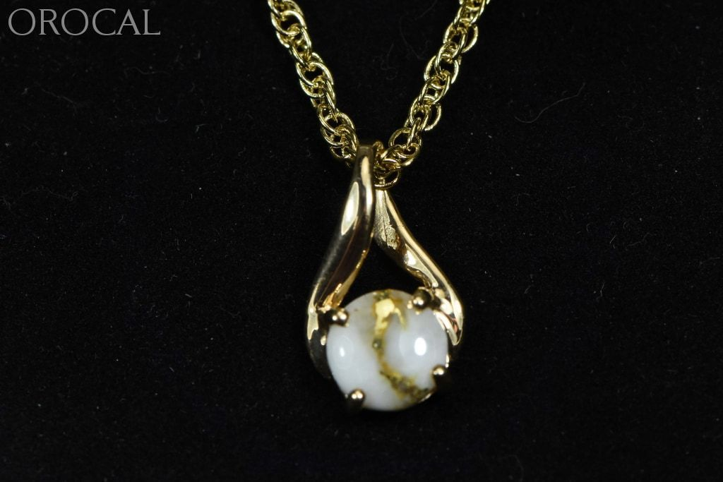 Gold Quartz Pendant Orocal Pn895Q Genuine Hand Crafted Jewelry - 14K Yellow Casting