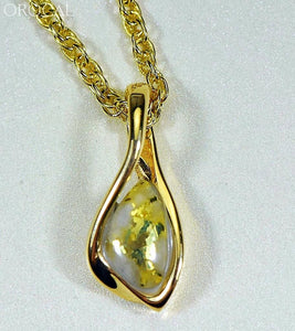 Gold Quartz Pendant Orocalpn601Qx Genuine Hand Crafted Jewelry - 14K Yellow Casting