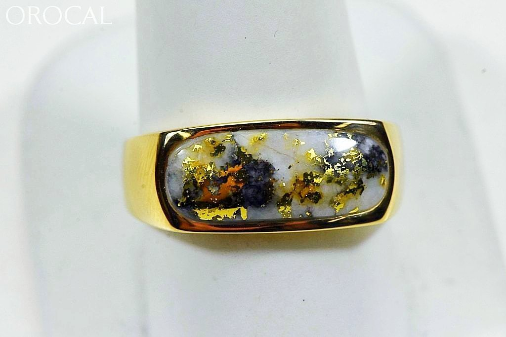 Gold Quartz Ring Mens Orocal Rm816Q Genuine Hand Crafted Jewelry - 14K Yellow Casting