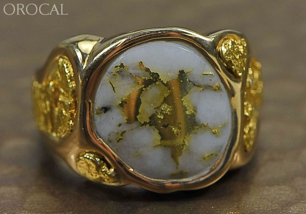 Gold Quartz Ring Orocal Rm518Q Genuine Hand Crafted Jewelry - 14K Casting