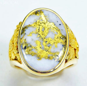 Gold Quartz Ring Orocal Rm627Q Genuine Hand Crafted Jewelry - 14K Casting
