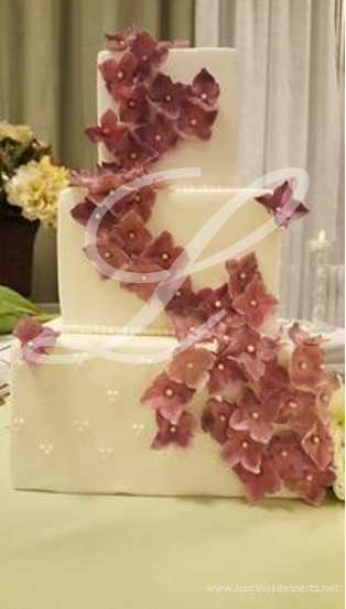 Flower Cascade Wedding Cake