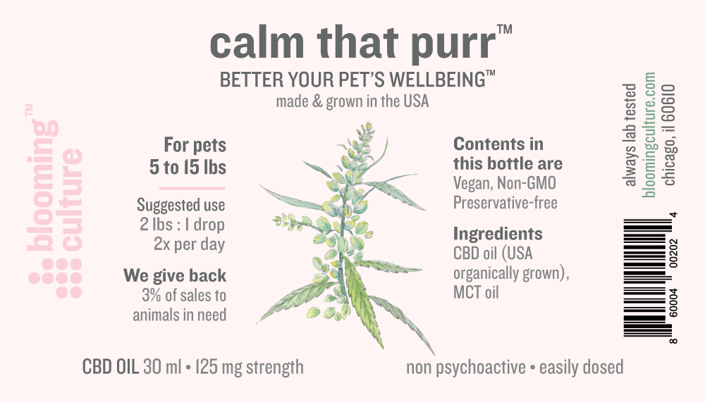 calm that purr | Blooming Culture USA grown, organic CBD oil for pets