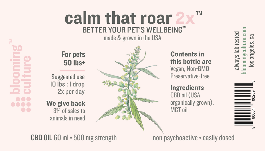 calm that roar | Blooming Culture whole plant CBD oil for pets